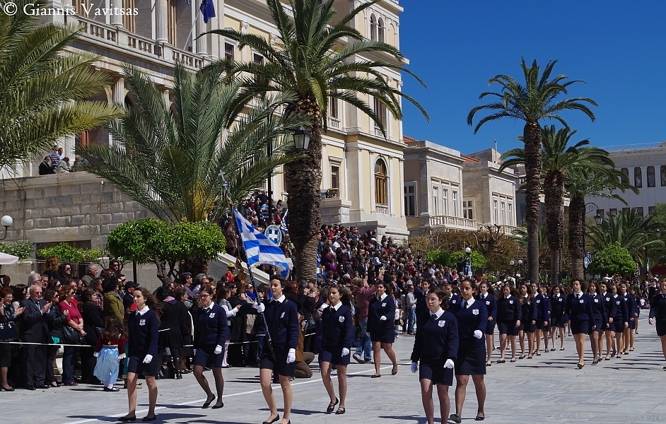 Parade for the 25th of March anniversary in Syros
